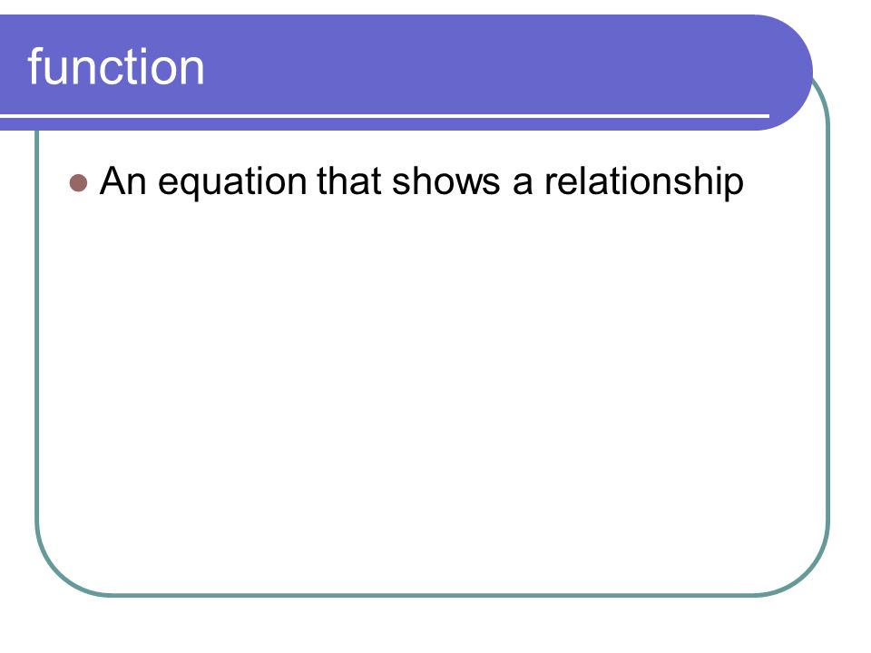 function An equation that shows a relationship