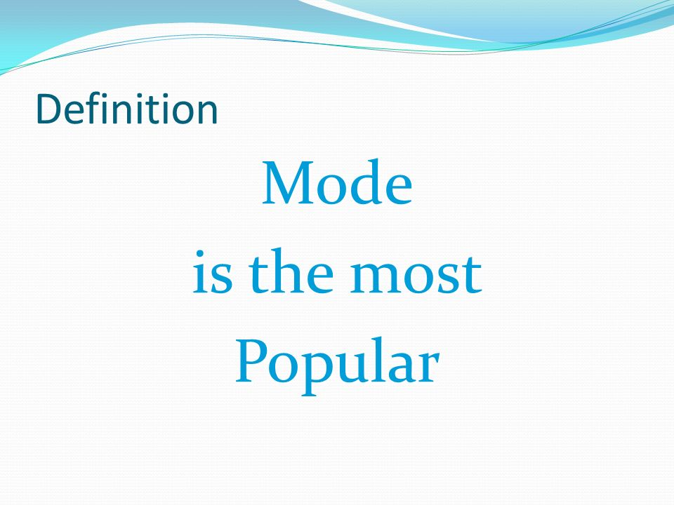 Definition Mode is the most Popular
