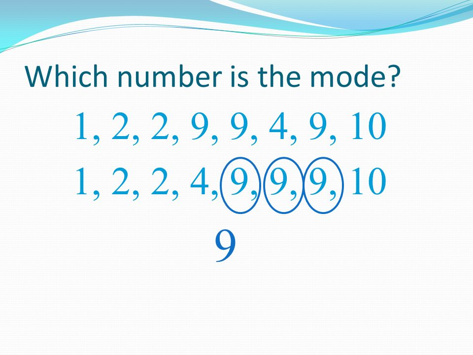 Which number is the mode? 1, 2, 2, 9, 9, 4, 9, 10 9 1, 2, 4, 9, 10