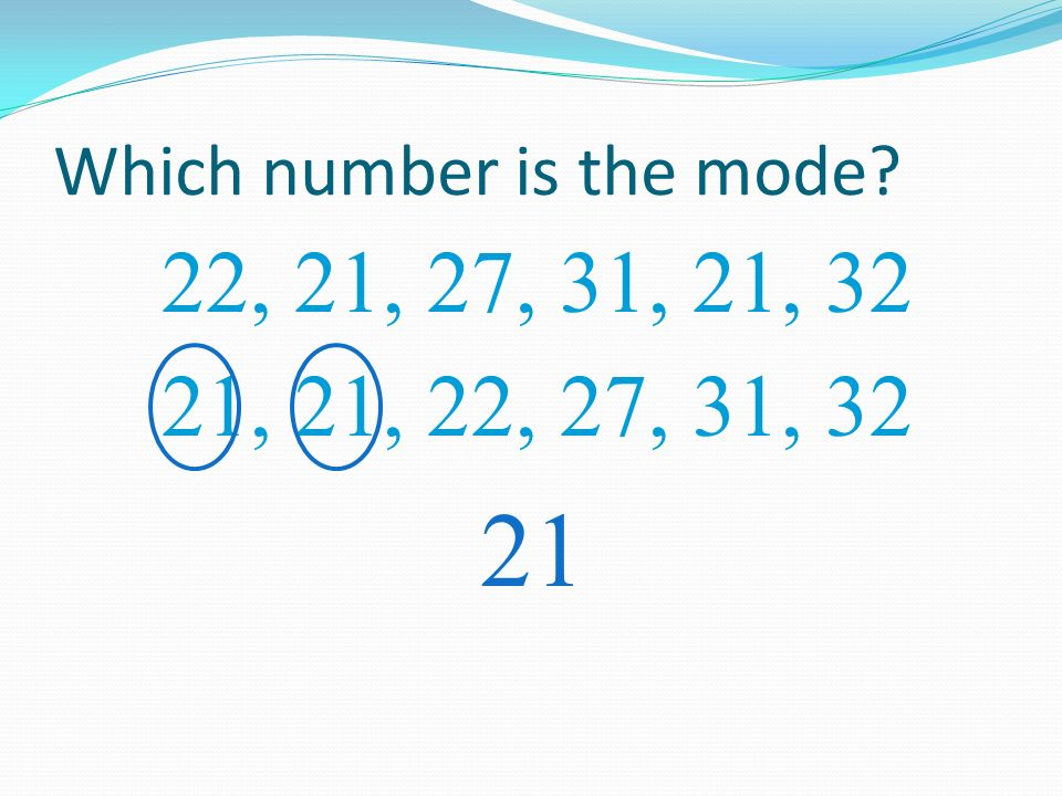 Which number is the mode? 22, 21, 27, 31, 21, 32 21 21, 22, 27, 31, 32