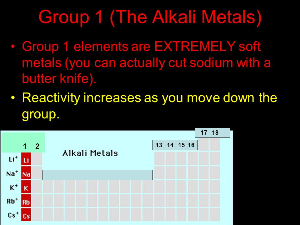 Group 1 (The Alkali Metals) Group 1 elements are EXTREMELY soft metals (you can actually cut sodium with a butter knife). Reactivity increases as you