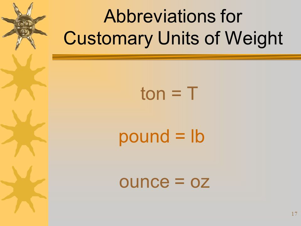 17 Abbreviations for Customary Units of Weight ton = T pound = lb ounce = oz