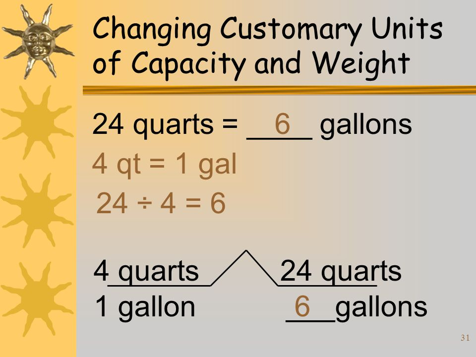 31 Changing Customary Units of Capacity and Weight 24 quarts = ____ gallons 4 qt = 1 gal 24 ÷ 4 = 6 6 4 quarts 1 gallon 24 quarts ___gallons6