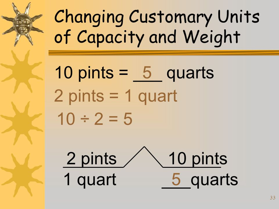 33 Changing Customary Units of Capacity and Weight 10 pints = ___ quarts 2 pints = 1 quart 10 ÷ 2 = 5 5 2 pints 1 quart 10 pints ___quarts5