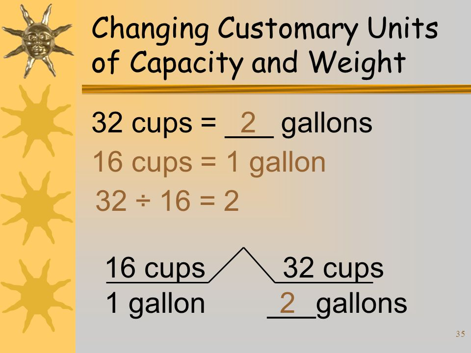 35 Changing Customary Units of Capacity and Weight 32 cups = ___ gallons 16 cups = 1 gallon 32 ÷ 16 = 2 2 16 cups 1 gallon 32 cups ___gallons2