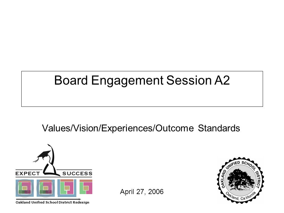 Page 1 April 27, 2006 Board Engagement Session A2 Values/Vision/Experiences/Outcome Standards Oakland Unified School District Redesign