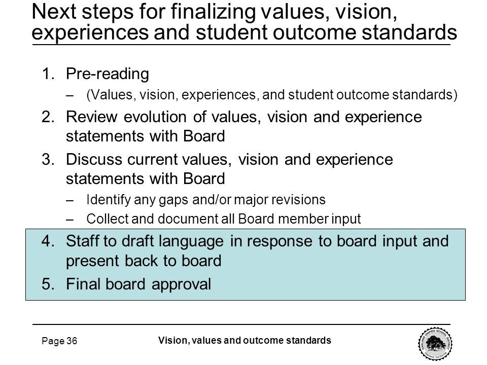 Page 36 Next steps for finalizing values, vision, experiences and student outcome standards Vision, values and outcome standards 1.Pre-reading –(Value