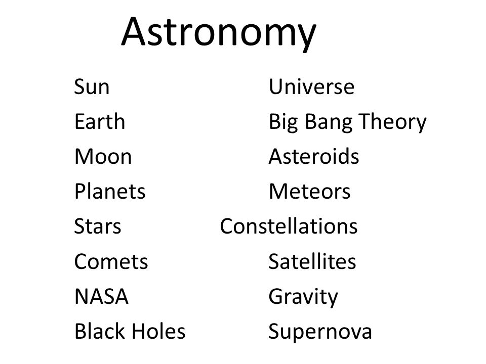 SunUniverse EarthBig Bang Theory MoonAsteroids PlanetsMeteors StarsConstellations CometsSatellites NASAGravity Black HolesSupernova