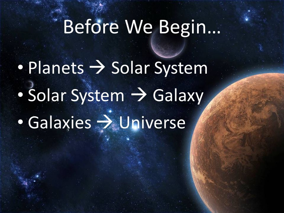 Before We Begin… Planets Solar System Solar System Galaxy Galaxies Universe