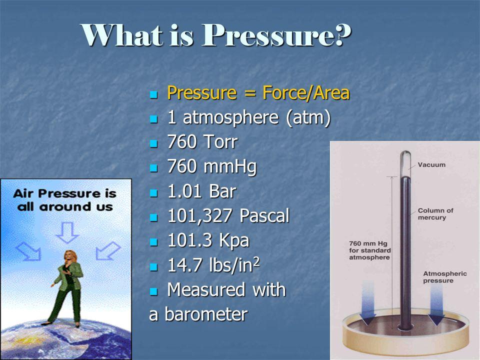 What is Pressure? Pressure = Force/Area Pressure = Force/Area 1 atmosphere (atm) 1 atmosphere (atm) 760 Torr 760 Torr 760 mmHg 760 mmHg 1.01 Bar 1.01