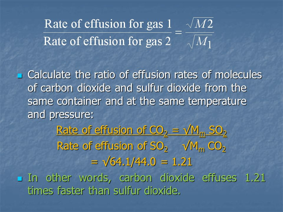 Calculate the ratio of effusion rates of molecules of carbon dioxide and sulfur dioxide from the same container and at the same temperature and pressu