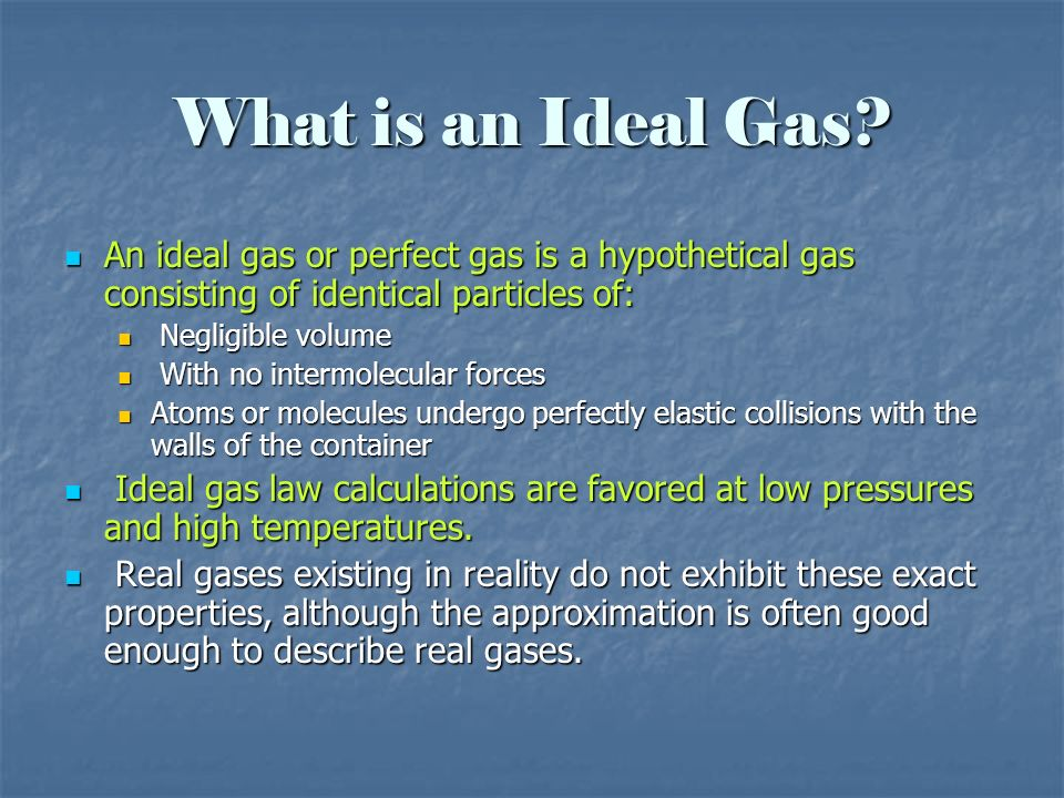 What is an Ideal Gas? An ideal gas or perfect gas is a hypothetical gas consisting of identical particles of: An ideal gas or perfect gas is a hypothe