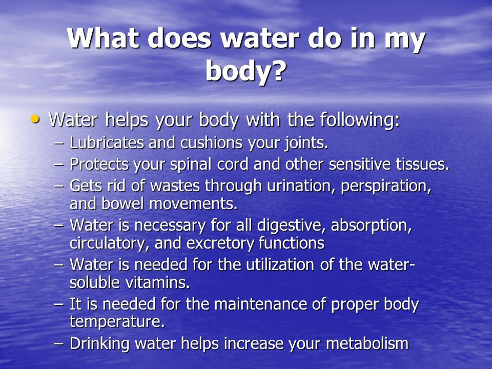 What does water do in my body? Water helps your body with the following: Water helps your body with the following: –Lubricates and cushions your joint