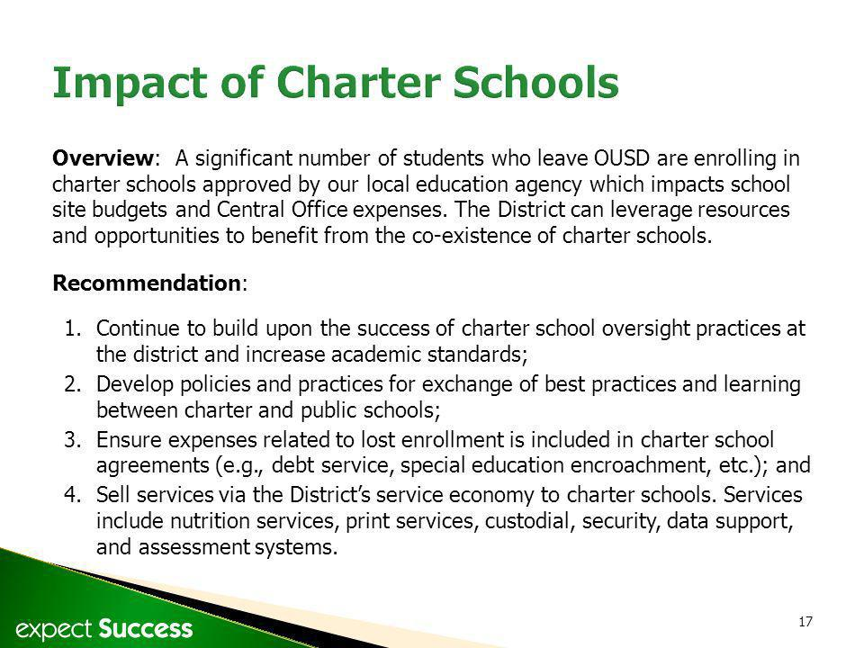 17 Overview: A significant number of students who leave OUSD are enrolling in charter schools approved by our local education agency which impacts sch