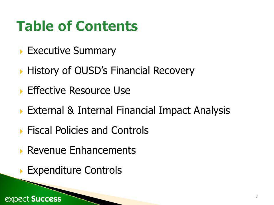 2 Executive Summary History of OUSDs Financial Recovery Effective Resource Use External & Internal Financial Impact Analysis Fiscal Policies and Contr