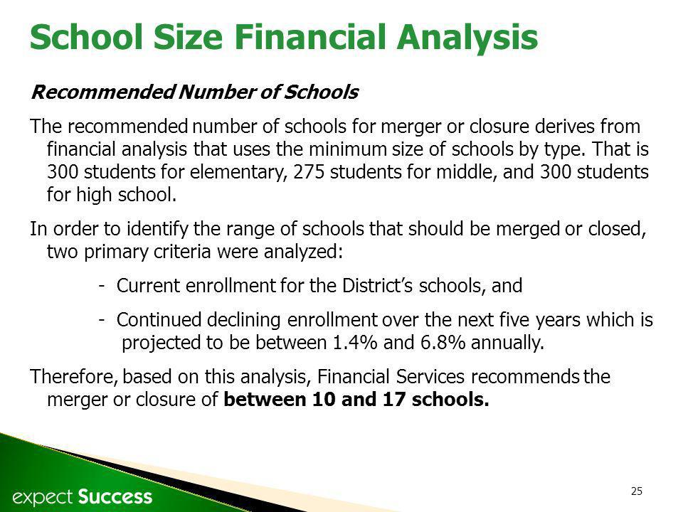 25 Recommended Number of Schools The recommended number of schools for merger or closure derives from financial analysis that uses the minimum size of schools by type.
