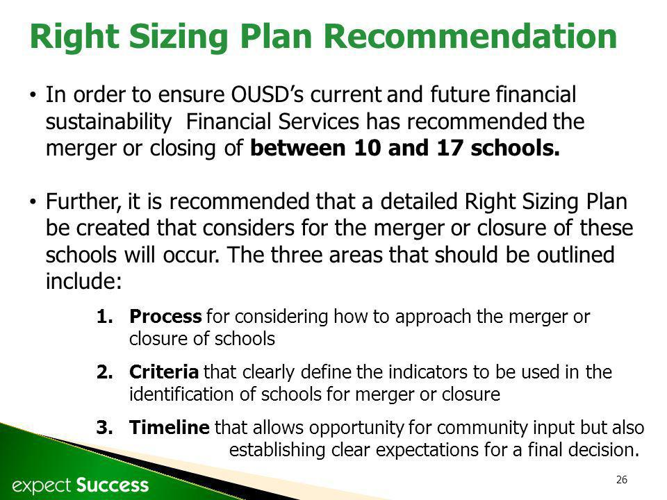 26 In order to ensure OUSDs current and future financial sustainability Financial Services has recommended the merger or closing of between 10 and 17 schools.