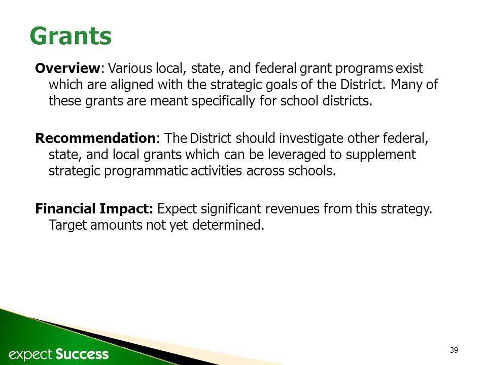 39 Overview: Various local, state, and federal grant programs exist which are aligned with the strategic goals of the District. Many of these grants a
