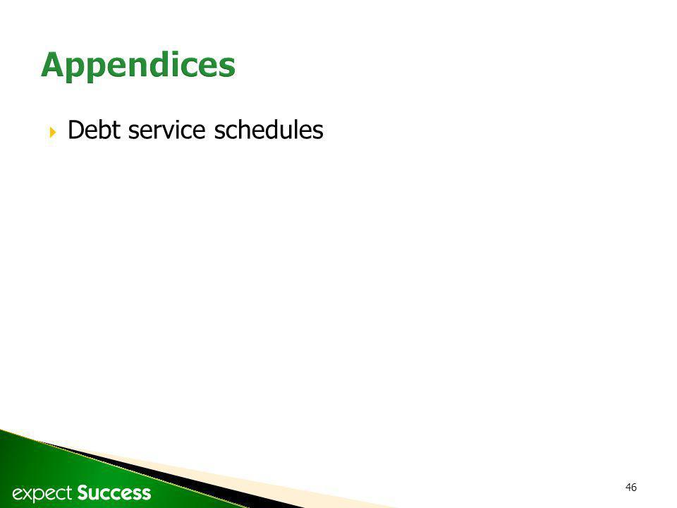 46 Debt service schedules