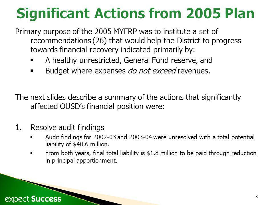 8 Primary purpose of the 2005 MYFRP was to institute a set of recommendations (26) that would help the District to progress towards financial recovery