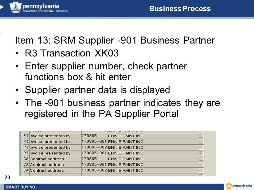 20 Business Process Item 13: SRM Supplier -901 Business Partner R3 Transaction XK03 Enter supplier number, check partner functions box & hit enter Supplier partner data is displayed The -901 business partner indicates they are registered in the PA Supplier Portal