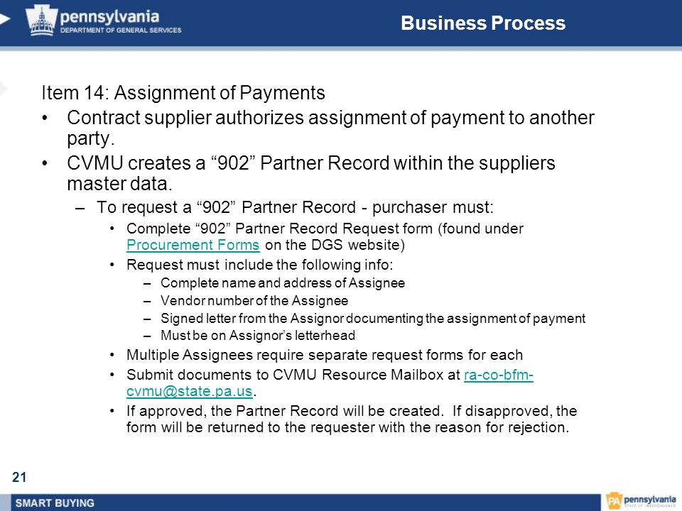 21 Business Process Item 14: Assignment of Payments Contract supplier authorizes assignment of payment to another party. CVMU creates a 902 Partner Re