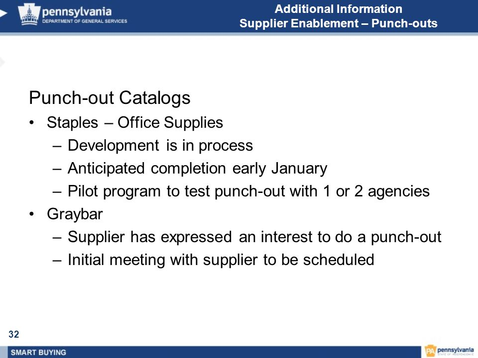 32 Additional Information Supplier Enablement – Punch-outs Punch-out Catalogs Staples – Office Supplies –Development is in process –Anticipated completion early January –Pilot program to test punch-out with 1 or 2 agencies Graybar –Supplier has expressed an interest to do a punch-out –Initial meeting with supplier to be scheduled