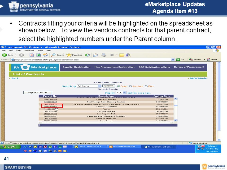 41 eMarketplace Updates Agenda Item #13 Contracts fitting your criteria will be highlighted on the spreadsheet as shown below.