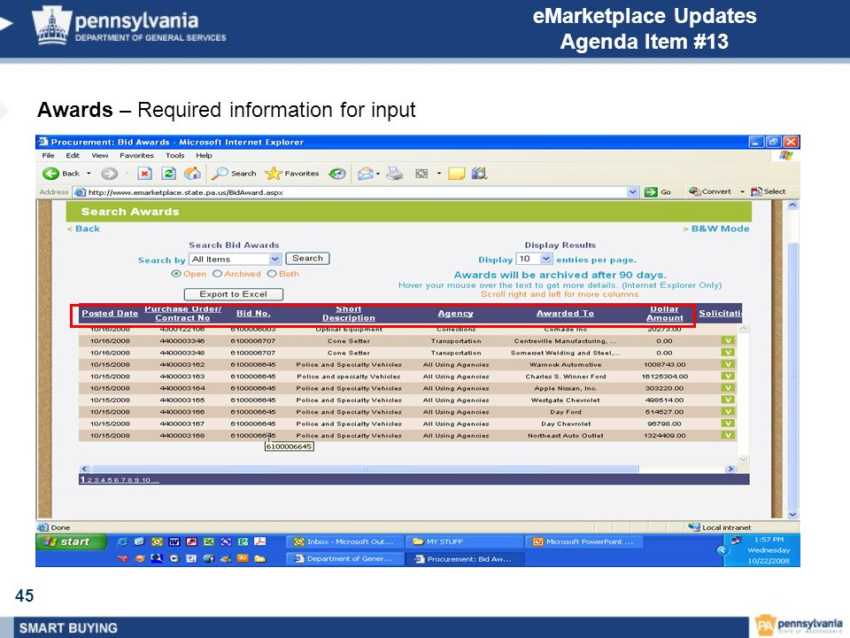 45 eMarketplace Updates Agenda Item #13 Awards – Required information for input