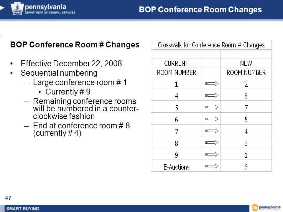 47 BOP Conference Room Changes BOP Conference Room # Changes Effective December 22, 2008 Sequential numbering –Large conference room # 1 Currently # 9