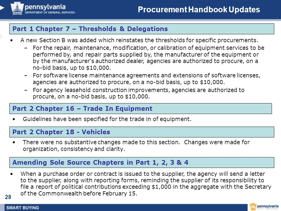 28 Procurement Handbook Updates There were no substantive changes made to this section.