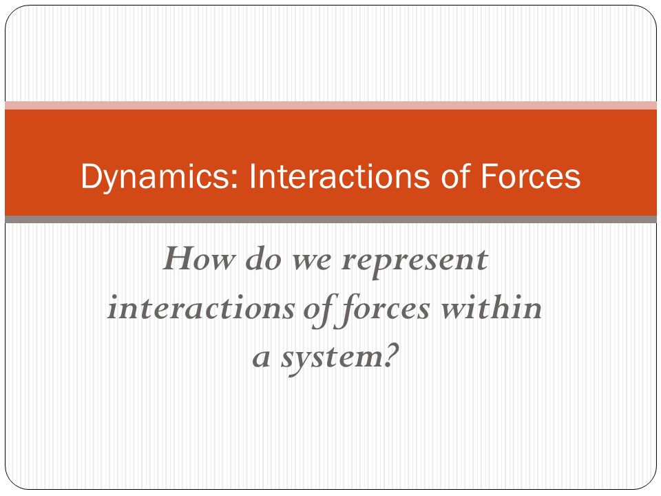 How do we represent interactions of forces within a system? Dynamics: Interactions of Forces