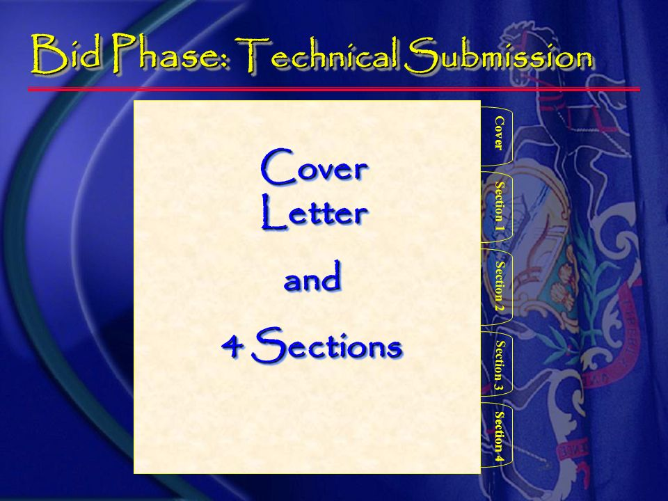 Bid Phase – Proposal Contents Format explained in detail in the RFP Contract # and discipline (.1/.2/.3/.4) on each part Proposal delivered in one box with 3 separate and distinct parts 1 Cost Firm Name 1 DBE Firm Name Technical Firm name Technical Firm name Technical Firm name Technical Firm name Technical Firm name 6 Technical Firm name