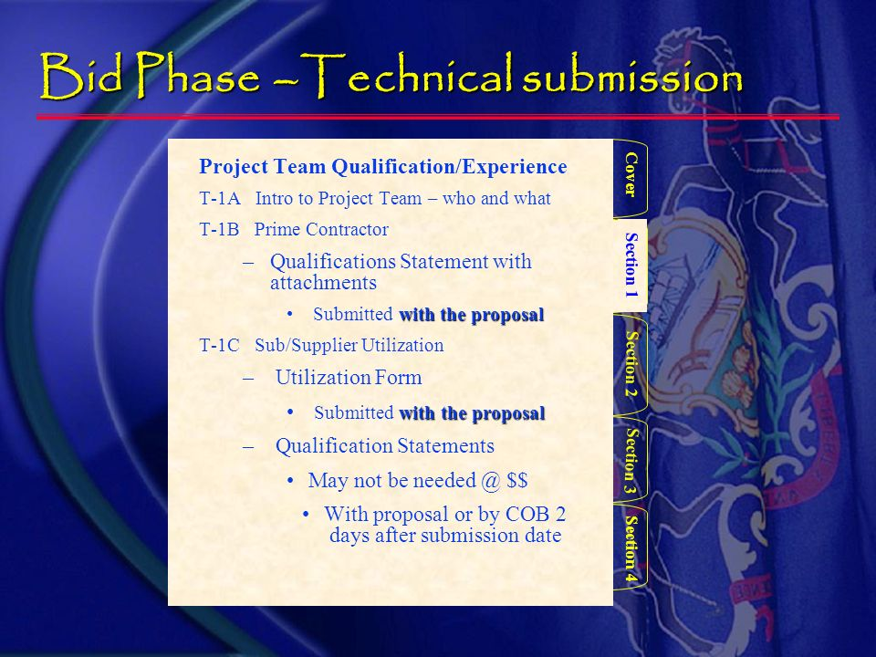 Bid Phase – Technical submission Section 1 Section 3 Section 2 Section 4 Cover Provides, at a minimum: Company Name Company Address Contact person Pho