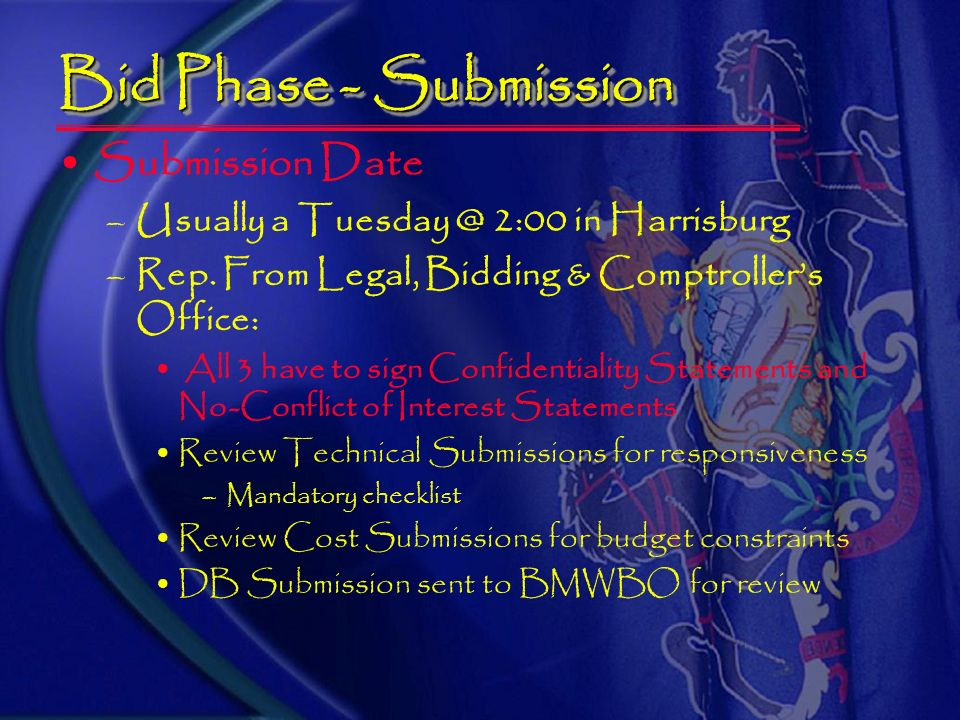 Bid Phase – DBE Submission – 1 copy List DGS-certified: MBE subs with $ commitment WBE subs with $ commitment MBE suppliers w/$ commitment WBE supplie
