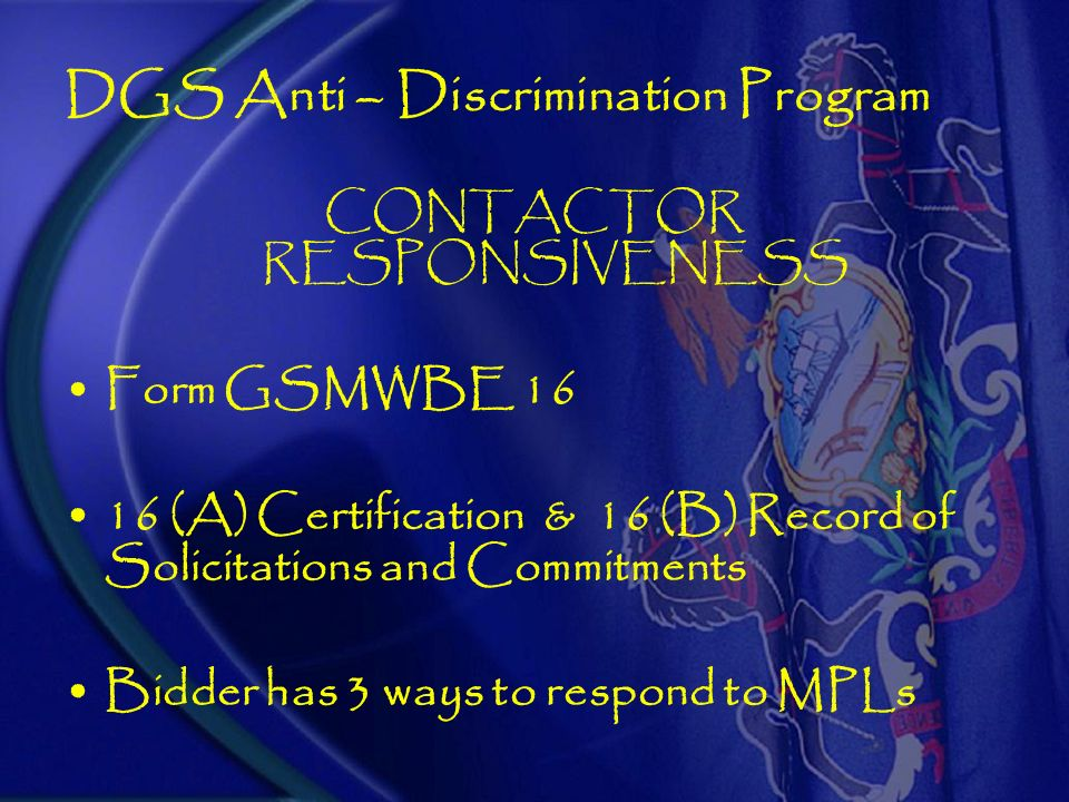 Governors Initiative EXECUTIVE ORDER 2004-6 Establish MPLs DGS Certified MBEs/WBEs CALCULATION OF PRIME BIDDERS MPLs