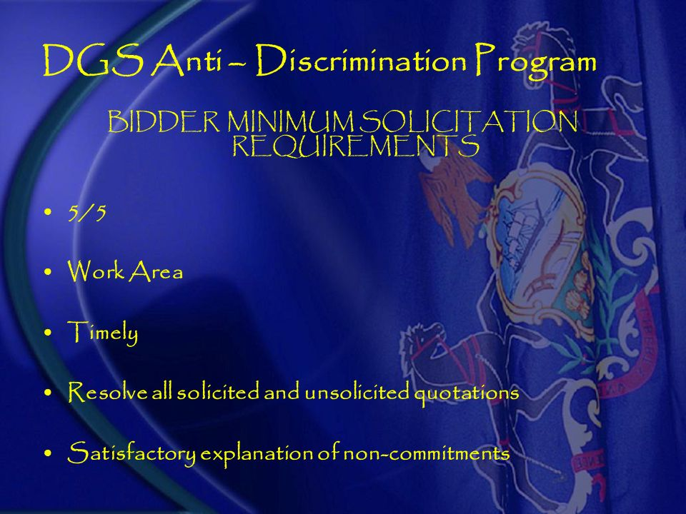 DGS Anti – Discrimination Program CONTACTOR RESPONSIVENESS Form GSMWBE 16 16 (A) Certification & 16 (B) Record of Solicitations and Commitments Bidder