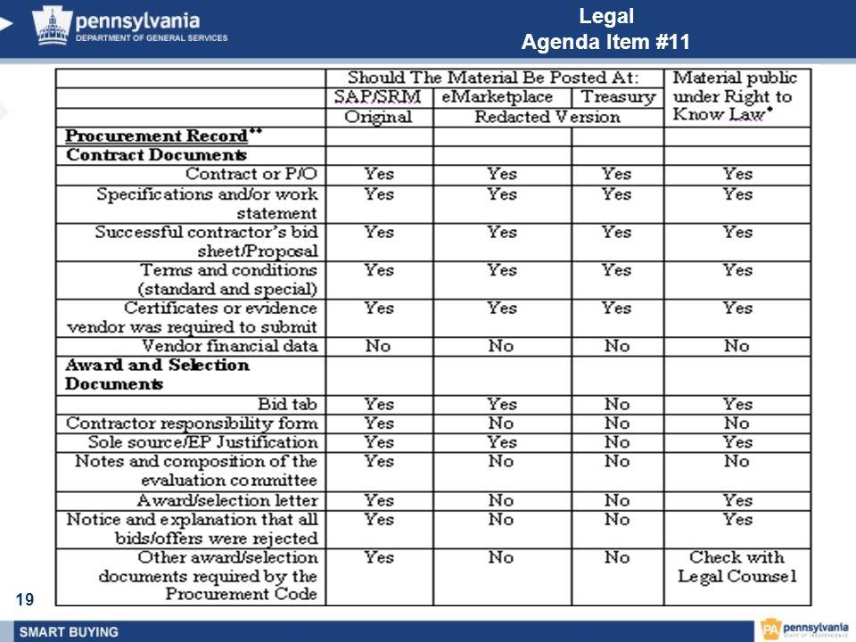 19 Legal Agenda Item #11