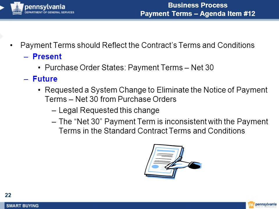 22 Business Process Payment Terms – Agenda Item #12 Payment Terms should Reflect the Contracts Terms and Conditions –Present Purchase Order States: Pa