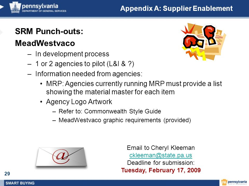 29 Appendix A: Supplier Enablement Email to Cheryl Kleeman ckleeman@state.pa.us Deadline for submission: Tuesday, February 17, 2009 SRM Punch-outs: Me