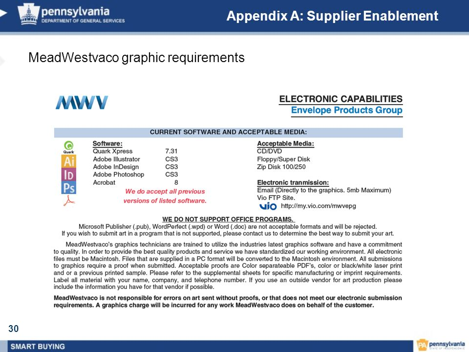 30 Appendix A: Supplier Enablement MeadWestvaco graphic requirements