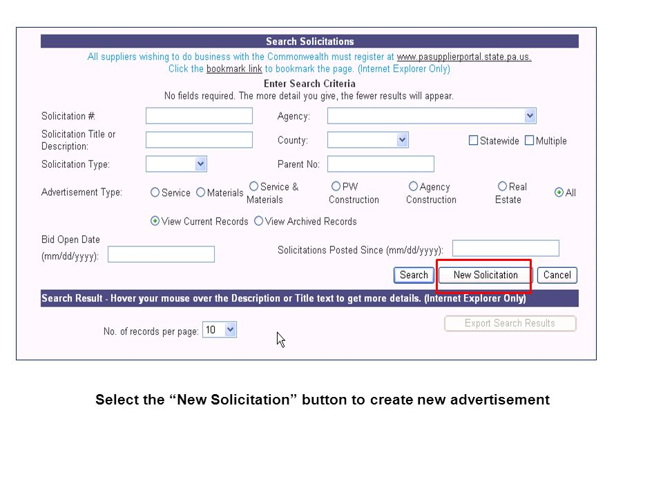 Select the New Solicitation button to create new advertisement