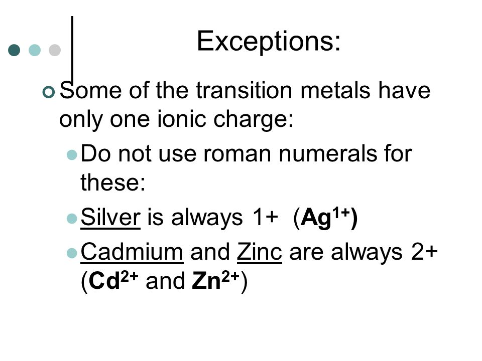 Exceptions: Some of the transition metals have only one ionic charge: Do not use roman numerals for these: Silver is always 1+ (Ag 1+ ) Cadmium and Zi