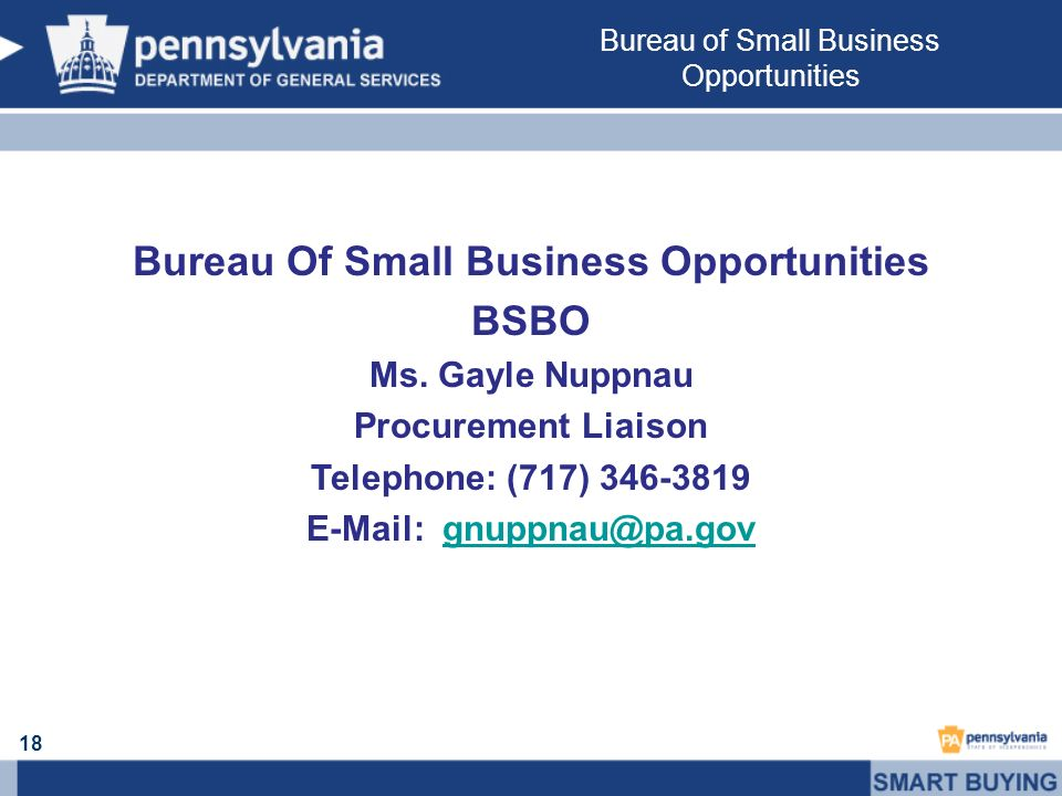18 Bureau Of Small Business Opportunities BSBO Ms.
