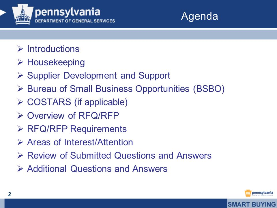 Agenda Introductions Housekeeping Supplier Development and Support Bureau of Small Business Opportunities (BSBO) COSTARS (if applicable) Overview of R