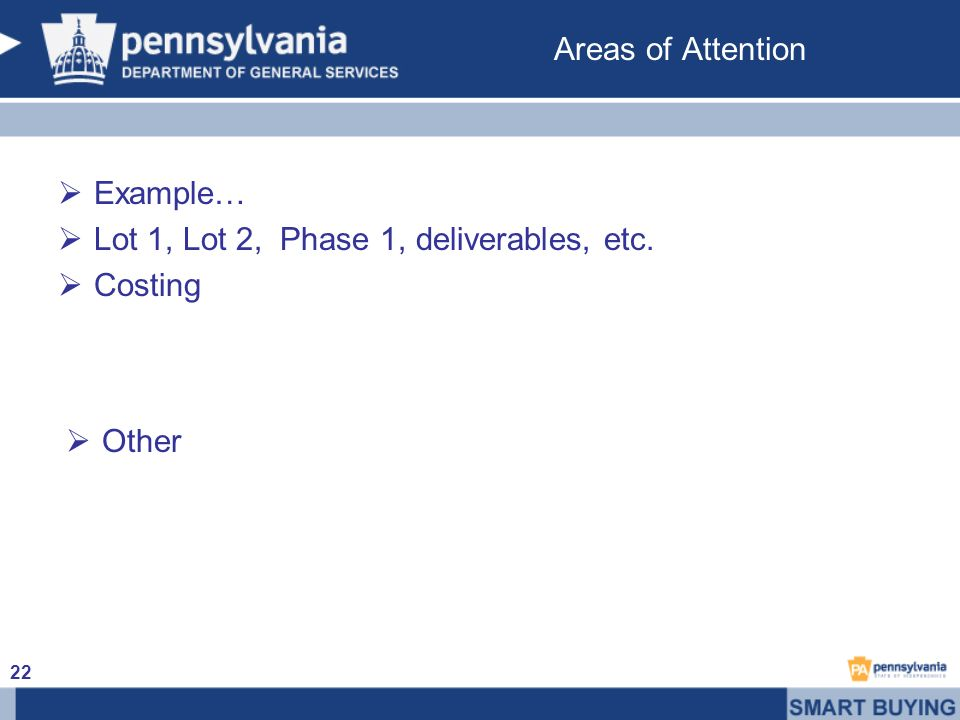 Areas of Attention Example… Lot 1, Lot 2, Phase 1, deliverables, etc. Costing Other 22