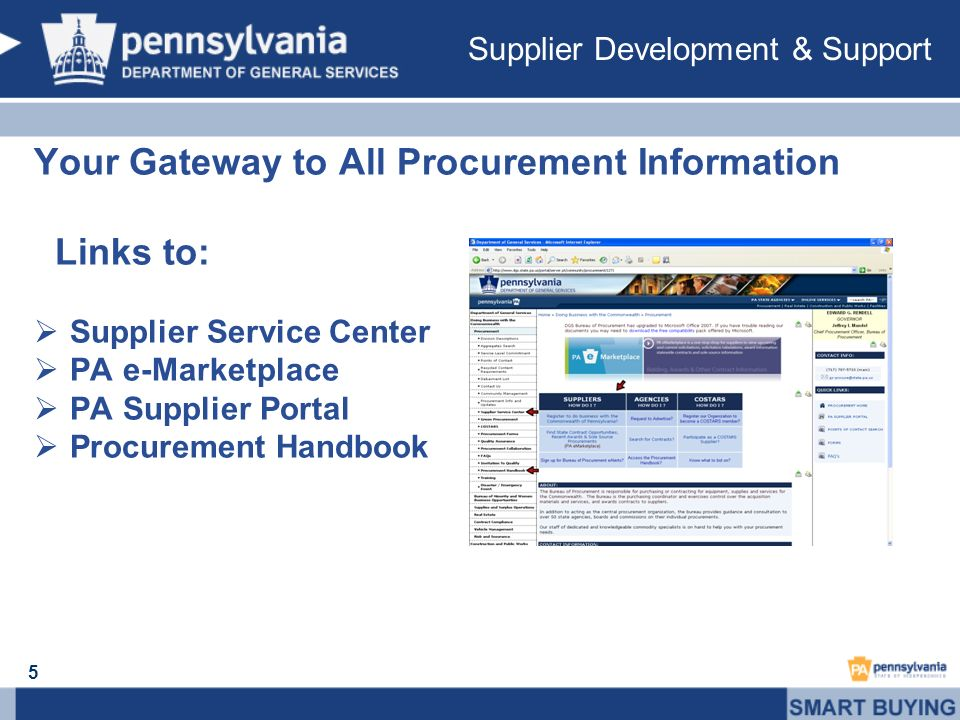Your Gateway to All Procurement Information Links to: Supplier Service Center PA e-Marketplace PA Supplier Portal Procurement Handbook 5 Supplier Development & Support