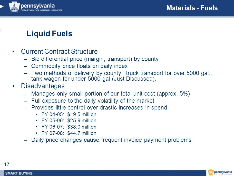 17 Liquid Fuels Current Contract Structure –Bid differential price (margin, transport) by county –Commodity price floats on daily index –Two methods o