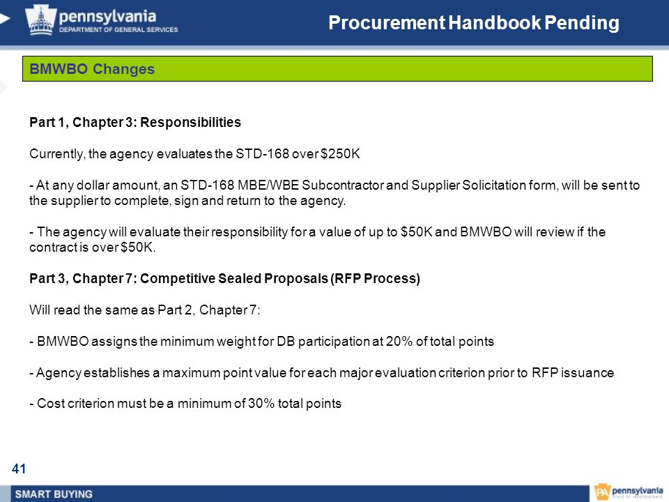 41 Procurement Handbook Pending BMWBO Changes Part 1, Chapter 3: Responsibilities Currently, the agency evaluates the STD-168 over $250K - At any doll