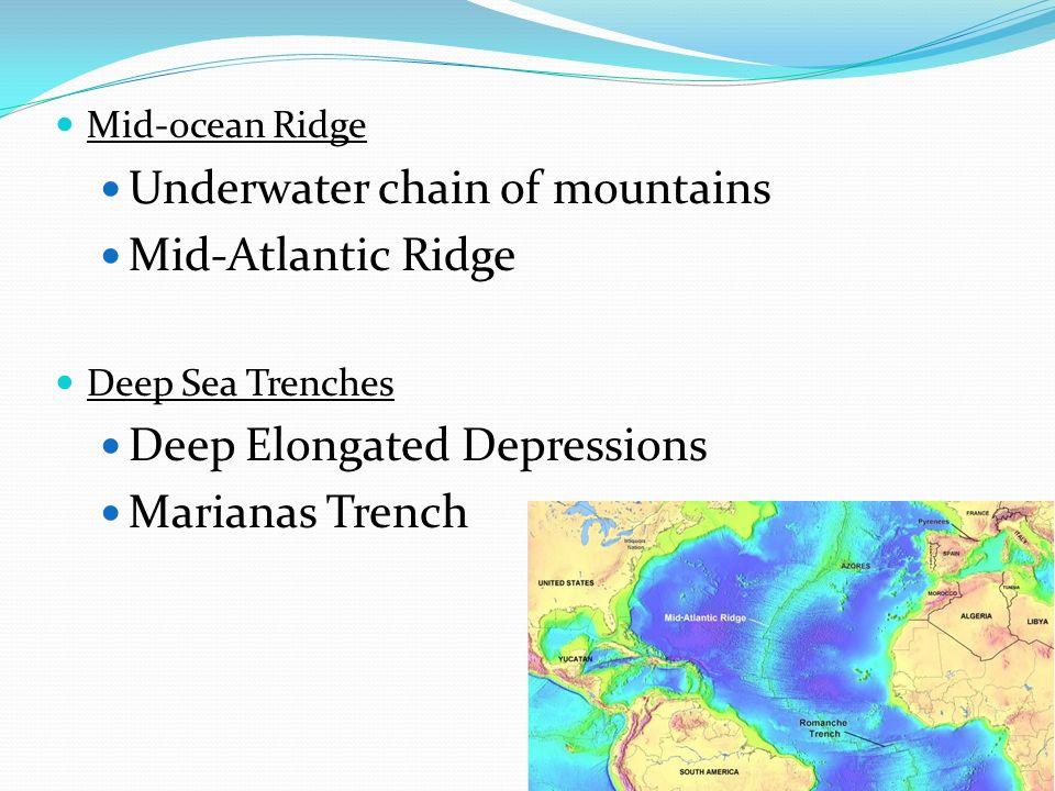 Mid-ocean Ridge Underwater chain of mountains Mid-Atlantic Ridge Deep Sea Trenches Deep Elongated Depressions Marianas Trench
